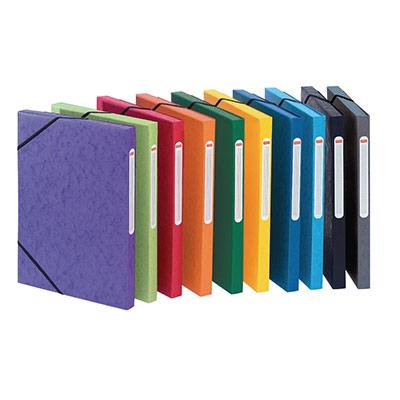 Chemise à élastiques 3 rabats Qualité Plus - carte lustrée 5/10 - format 24 x 32 cm - dos 2,5 cm - coloris assortis Toniques - lot de 10