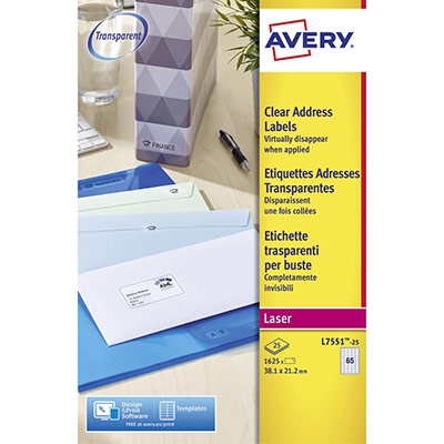 Etiquettes Avery L7551 - laser - invisible - 38 x 21 mm - boîte de 1625 (photo)