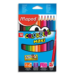 Boîte Maped de 12 maxi crayons de couleur ColorPeps assortis, mine 4,7 mm (photo)