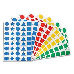 Paquet 32 feuilles de gommettes carré rond triangle étoile ovale prédécoupées bleu rouge vert jaune
