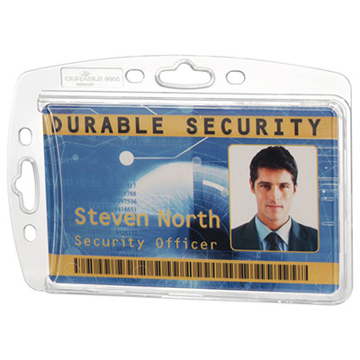 Badge de sécurité fermé pour 1 carte - sans attache - format 5,4 x 8,7 cm - transparent - boite de 10 (photo)