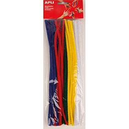Sachet de 50 chenilles 30 cm, diamètre 6 mm, couleurs assorties, bleu, jaune, rouge, vert, blanc (photo)