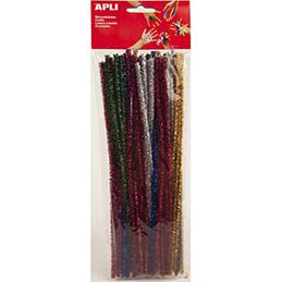 Sachet de 50 chenilles 30 cm, diam 6 mm, pailletées, couleur bleu, jaune, rouge, or, argent (photo)