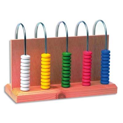 Abaque à 5 colonnes 10 pièces chacune couleur assortie pour compréhension des nombres (photo)