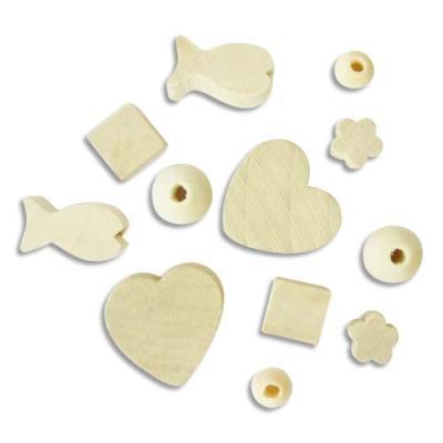 Sachet de 300 perles en bois brut à décorer, formes assorties, 50 x 6 modèles (photo)