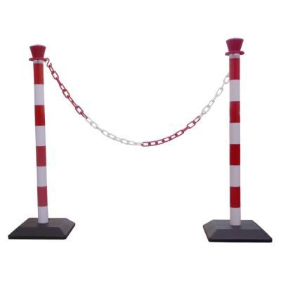 Kit 2 poteaux de signalisation - base lestée + 1 chaîne de 2 m - rouge et blanc