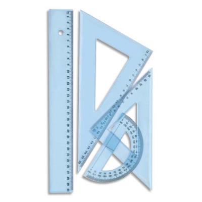 Kit de traçage 4 pièces en plastique incassable, 1 règle 30cm, 1 rapporteur, 2 équerres (photo)