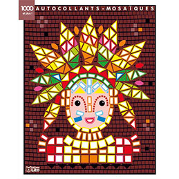 Bloc de 7 images et 1000 gommettes mosaïques, 21 x 26,5 cm, indiens (photo)