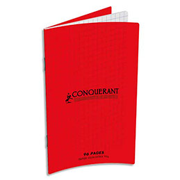 Carnet Oxford C9 90g, 9x14, 96 pages quadrillées 5x5, agrafé, couverture polypro rouge (photo)