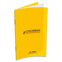 Carnet Oxford C9 90g, 11x17, 96 pages quadrillées 5x5, agrafé, couverture polypro jaune (photo)