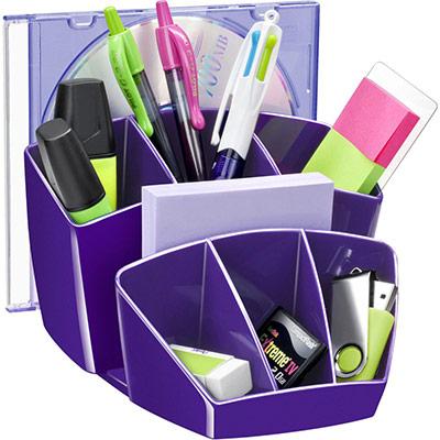 Pot à crayon CEP Gloss - multiples rangements - capacité 40 crayons - violet