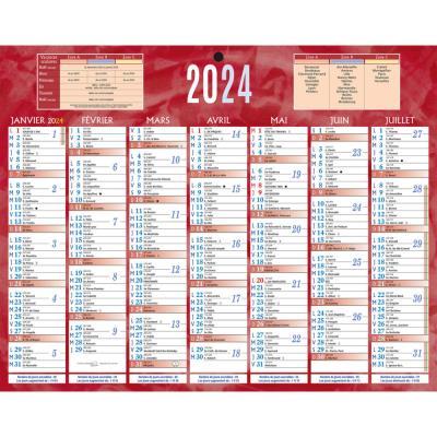 Calendrier bancaire rouge - 21 x 26 -5 cm - 2021