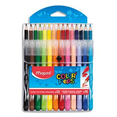 Pochette de 12 feutres Maped Long Life + 15 crayons de couleur Color'Peps