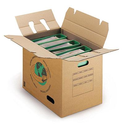 Caisse carton brune - double cannelure - avec poignées - L.44 X l.34 X H.48 cm