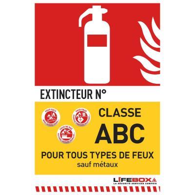 Panneau de signalisation Lifebox - classe feu ABC - présence d'extincteur à poudre