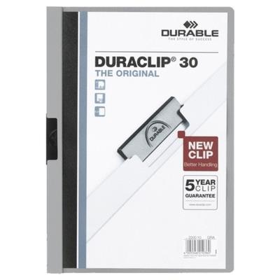 Chemise à pince Durable Duraclip A4 capacité 30 feuilles PVC gris