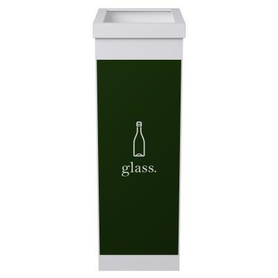 Corbeille de tri sélectif pour le recyclage du verre Paperflow - 60 litres - corps blanc - vert