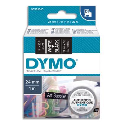 Ruban Dymo D1 poly - 24mm x 7m - Blanc/Noir - BB1 S0721010