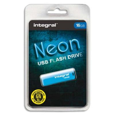 Clé USB 2.0 Integral NEON - 16 Go - bleue (photo)