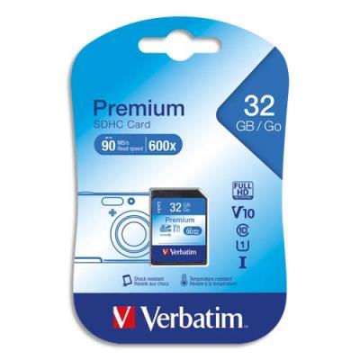 Carte SDHC Verbatim - 32 Go - Premium Classe 10 - 600X (photo)