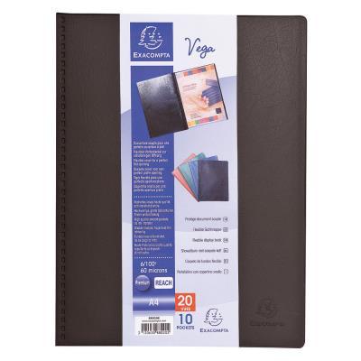 Porte-vue Exacompta Vega - format A4- 20 pochettes - PVC - noir