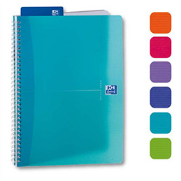 Cahier Oxford My Colours - reliure spirales - A5 - 180 pages - ligné 7 mm - couvertures polypro assorties