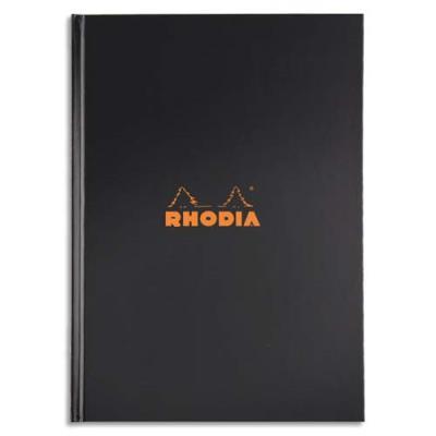 Cahier RHODIActive brochure rembordée - A4 - 192 pages non perforées - couverture noire