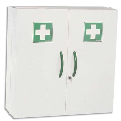 Armoire à pharmacie 2 portes  - L 52 x H 54 x P 20 cm - blanche (photo)