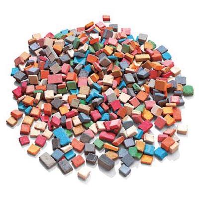 Pot de 1 kg. de mini mosaïques antiques de 5x5mm en 12 couleurs assorties (6000 pièces) (photo)