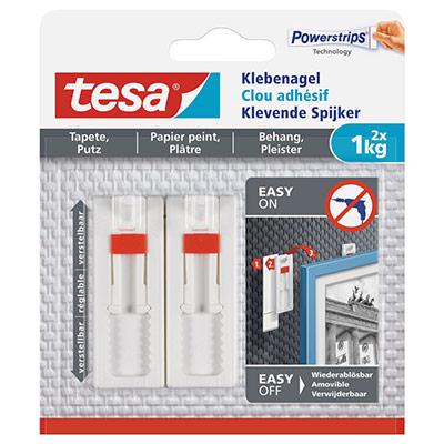 Clous adhésifs ajustables Tesa - pour papier peint et plâtre - charge 1 kg - L1,3 x H14 x P1,4 cm - boîte de 2 (photo)