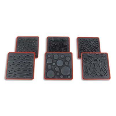 6 tampons à effets assortis, 6X6 cm, ABS et caoutchouc (photo)