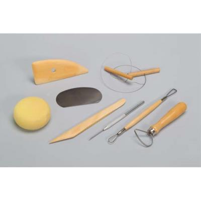 Kit du potier 8 outils Eponge, estèque bois et métal, tournasin, mirette, aiguille, ébauchoir, fil (photo)