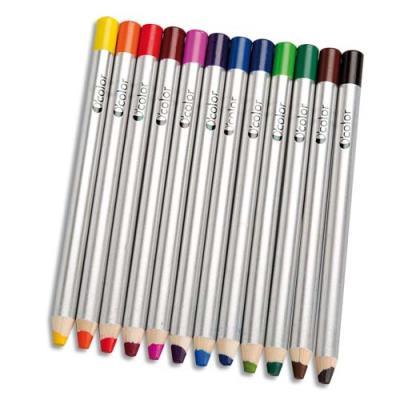 Boîte 12 crayons coul gros module pour ardoises et tableau effaçables à sec 180X12 mm, mine 8 mm (photo)