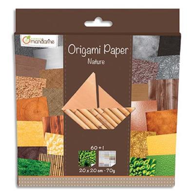 Paquets de 60 feuilles d'origami imprimées 20*20 cm sur le thème de la nature. (photo)