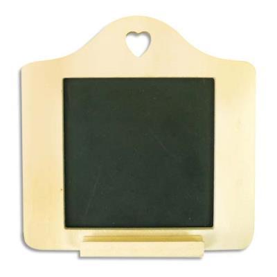 Mini ardoise contour bois à décorer, format 150x150x6mm (photo)