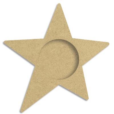 Porte bougie en bois médium à décorer, forme étoile, format 105x109x12mm (photo)