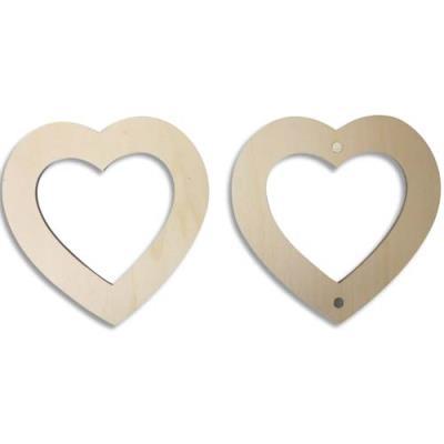 Lot de 6 cadres photo magnétiques en bois à décorer, forme cœurs, format 120mm (photo)