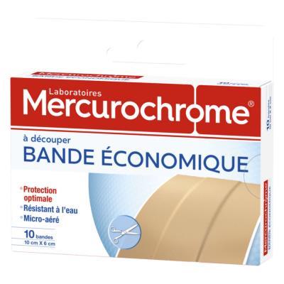 Bandes de pansement à découper  Mercurochrome - 10x6cm - boîte de 10 (photo)