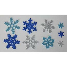 Sachet de 240 Flocons Neige en mousse pailletées adhésifs 3 couleurs 7 formes 3 tailles (photo)