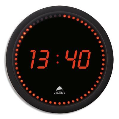 Horloge à led Horled - cadre plastique noir - affichage numérique rouge à quartz - diamètre 30cm (photo)
