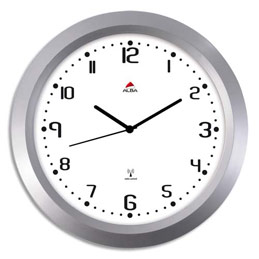 Horloge murale mécanisme radio-pilotée - diamètre 38 cm - chiffres noir sur fond blanc (photo)