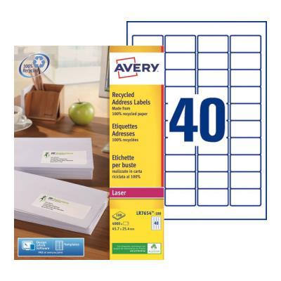Étiquettes adresses recyclées LR7654 Avery - pour imprimante laser - 45,7 x 25,4 mm - blanc - 4000 étiquettes par boîte (photo)