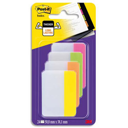 Blister de 24 Index marque-pages Strong - format large 5 x 3,8 cm - coloris assortis energiques (photo)