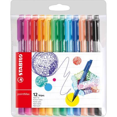 Stylo-feutre Stabilo PointMAX - pointe en nylon - couleurs d'encre assorties - paquet 12 unités