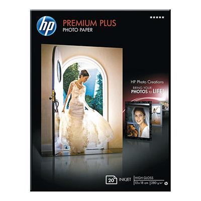 Papier photo brillant HP 130 x 180 mm blanc 280g Premium Plus pour jet d'encre - boîte de 20 feuilles