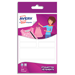 Blister de 30 étiquettes Avery - pour vêtements - formes assorties (photo)