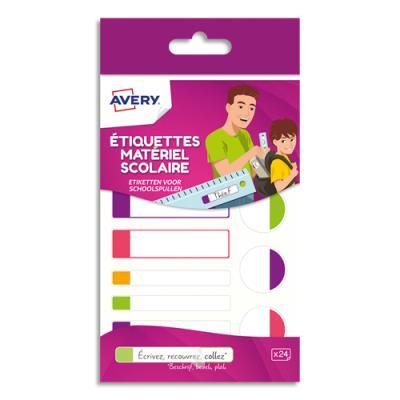 Etiquettes plastifiées Avery - 3 formats assortis - coloris assotis fluorescents - boîte de 24