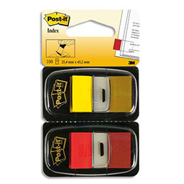 Blister de 2 cartes de 50 index marque page Post-It - 2,54 x 4,4mm - rouge et jaune (photo)