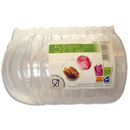 Lot de 5 boules en plastique cristal à décorer, diamètre 80mm qualite alimentaire (photo)