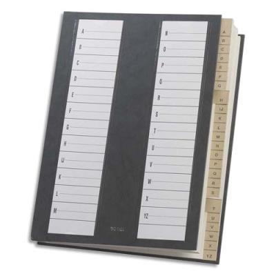 Trieur alphabétique 24 compartiments noir - couverture rigide plastifiée - dos extensible (photo)